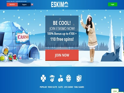 Eskimo casino screenshot homepagina