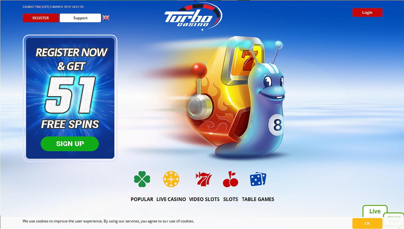 Turbo casino screenshot homepagina